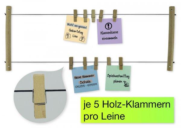 TimeTEX Bilder-Halter mit 10 Holz-Klammern, 65x24 cm