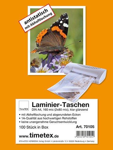 Laminier-Taschen A4 2x80 mic glänzend, mit Abheftlochung, 100 Stück