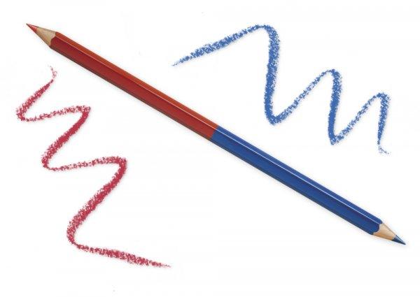 Zweifarb-Buntstift mit Doppelspitze rot/blau, 6-kant, 6,8 mm ø