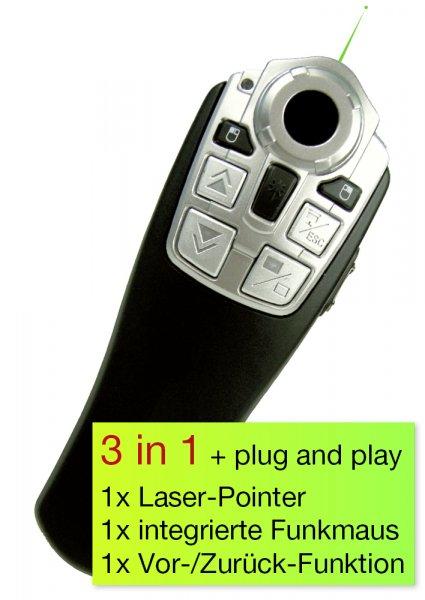 """TimeTEX Laser-Pointer """"grün"""" mit Funk-Fernbedienung"""